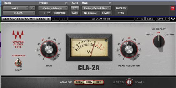 Compresor del tipo musical CLA2A: No permite ajustar los parámetros de ataque y release