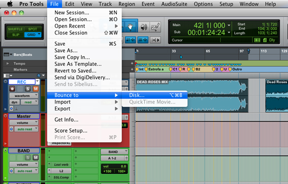 Bounce to disk pro tools