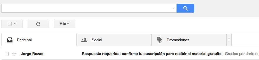 Bandeja de Gmail con el mail de confirmacion