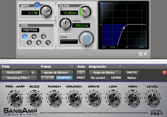 Cadena de plugins de distorsion en el bajo