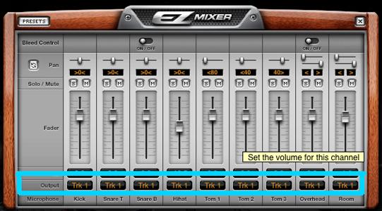 Salida EZ Drummer estéreo