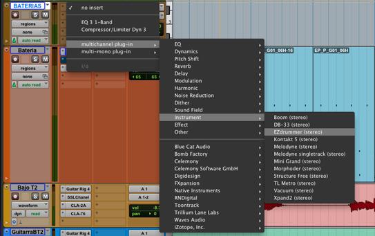 Vista del menu de instrumentos virtuales