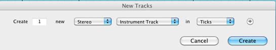 Creación de pista de instrumento virtual