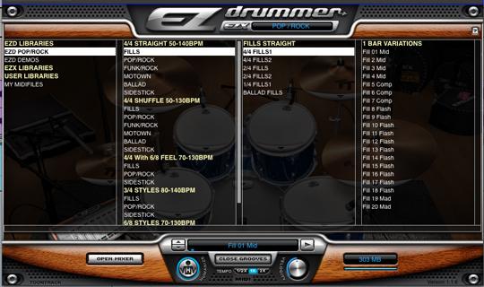 Vista de la librería de ritmos ez drummer