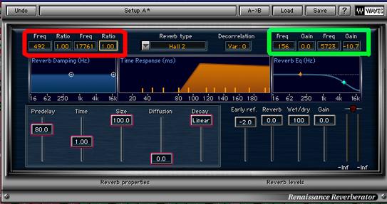 Parámetros de frecuencia de reverb