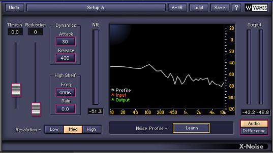 Generación de perfil de ruido en x noise waves