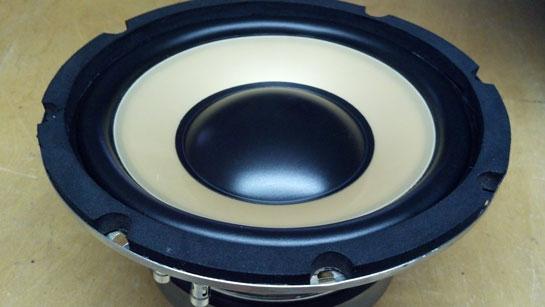 Vista de un woofer típico, que es usado como elemento de bajas frecuencias en un monitor de estudio.