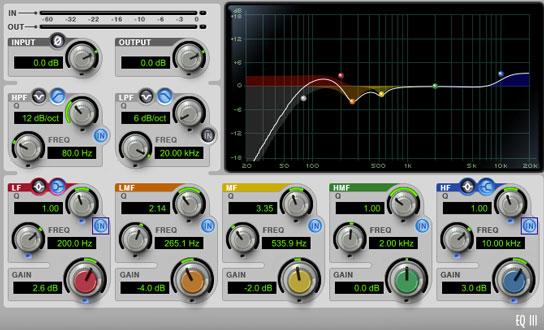 Uso de ecualización aditiva sobre la voz principal, se observa el uso de una curva shelving de bajos y otra de agudos.