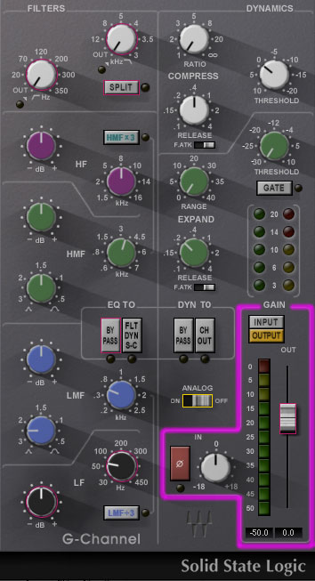 Vista del canal SSL G4000 con la sección de entrada resaltada en violeta.