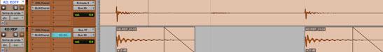 Vista de la forma de onda de la señal que activa la compresión side chain; en este caso se uso una muestra de bombo con igual amplitud.
