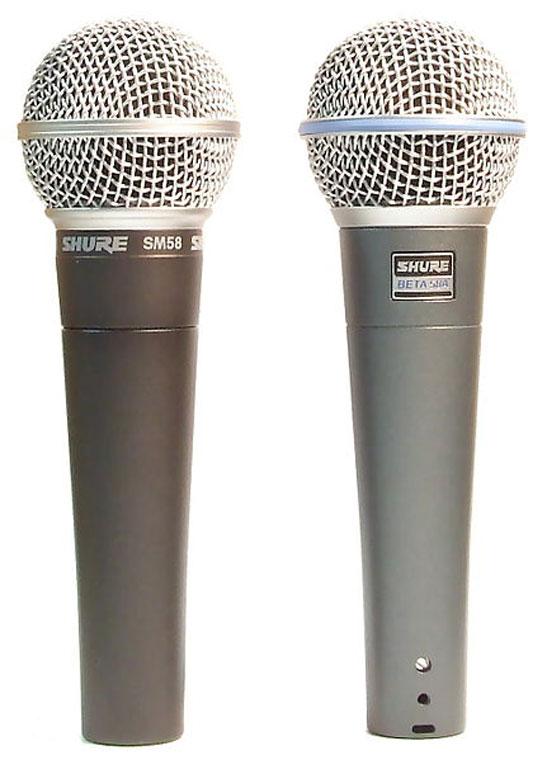 Ejemplo de micrófonos dinámicos de la firma Shure, a la izquierda el modelo SM58 a la derecha el