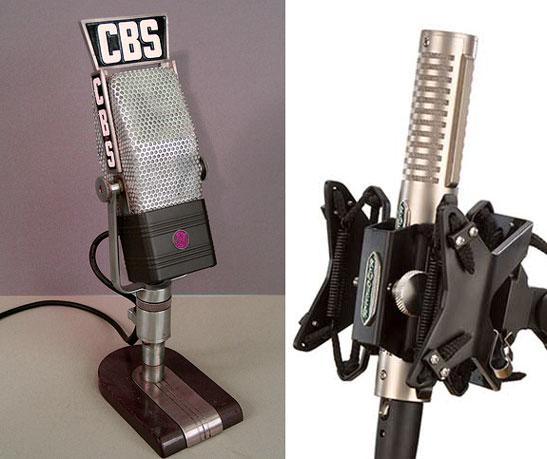 Ejemplo de micrófonos de cinta, a la izquierda el modelo clásico RCA 44 y a la derecha uno moderno de la firma Royer modelo 121.