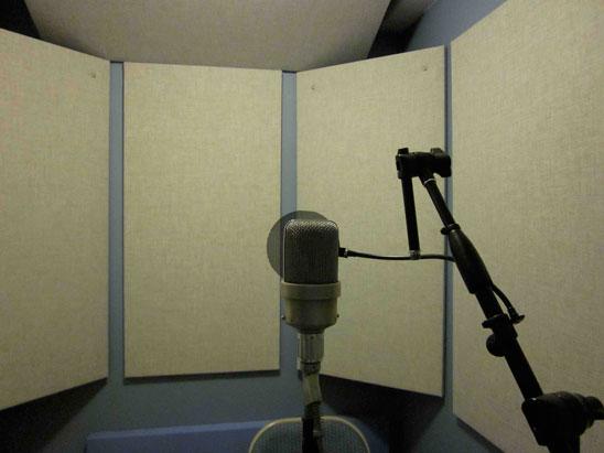 Vista del tratamiento acústico de una sala para grabar voces, en beige se observan los paneles absorbentes que dan hacia la parte trasera del micrófono donde el mismo es más sensible.