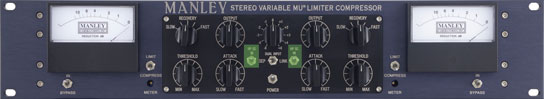 Compresor de hardware de la firma Manley, modelo vari mu; en verde se observa el interruptor que activa el filtro pasa altos (HP SC) del circuito interno de side chain.